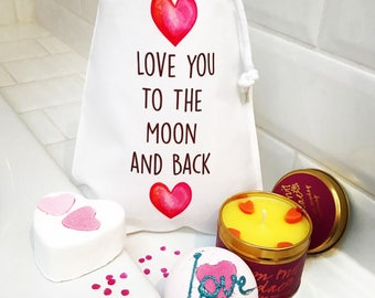Bath Gift Set Bath Bombs in Gift Bag Love you to the Moon and Back