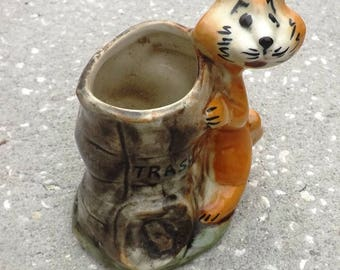 Vintage Trash Planter With Funny Raccoon