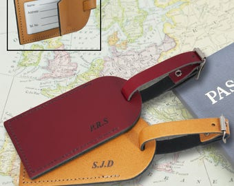 A Pair of Personalised,  Monogrammed, Laser Engraved, Genuine  Leather Luggage Tags - L1018
