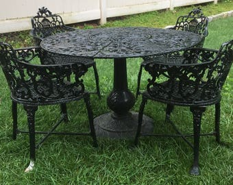Ornate Rose Cast Metal Aluminum Garden Outdoor Patio Table And Chairs Set