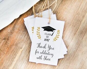 24 Thank You Graduation Tags, Graduation Favor Tags, Party Favor Gift Tags, Graduation Hangtags