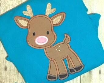 Deer Applique Design - Reindeer Applique Design - Christmas Applique Design - Holiday Applique - Woodland Applique - Embroidery Design