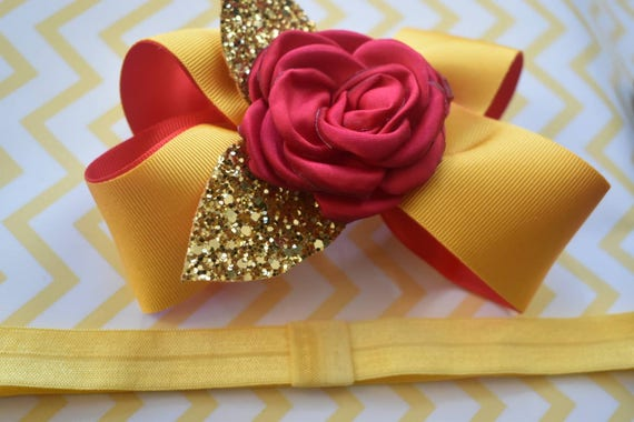 Belle Inspired Gold and Red Bow - Baby / Toddler / Girls / Kids Headband / Hairband / Hair bow / Barrette / Hairclip / beauty and the beast