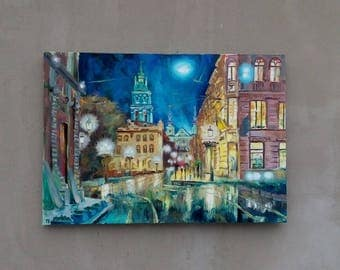 Picture Original Oil Painting City  Lviv Аrchitecture
