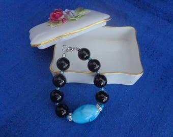 Brown and Blue Beaded Bracelet,Chunky Bracelet,Brown Bracelet