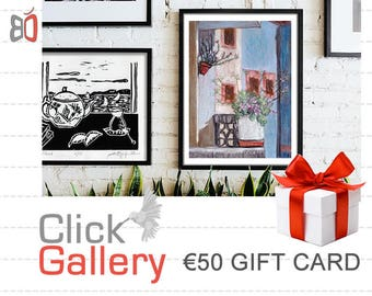 Etsy Gift Card, ClickGallery, Etsy Gift Certificate, Mother's Day Gift, 50 EURO (Other Amounts Available) Housewarming Gift, Home decor, art