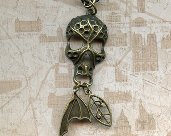 SKULL MASK PENDANT, Halloween, bronze with dragon's wing and small leaf charm, 18 inch chain, men's jewelry, can be a choker,