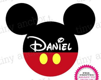 Personalized Mickey Shorts Disney Printed Iron On Transfer - Ready To Iron On - One Preprinted Sheet - Light or Dark Fabric Transfer