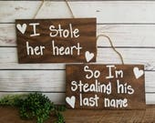 Engagement Photo Props, Couples Engagement Props, I stole her heart, Wood Engagment Signs, Custom Engangement Signs, Set of 2