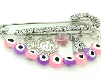 Allah stroller pin, Allah hamsa pin, pink purple baby girl pin, baby brooch, pink baby pin, initial pin, islamic baby gift, baby shower gift