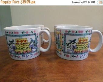 Save 25% Now Vintage Tabletops Unlimited Dinnerware Happy Everything Pattern Hard to Find Set of 4 Cups/Mugs