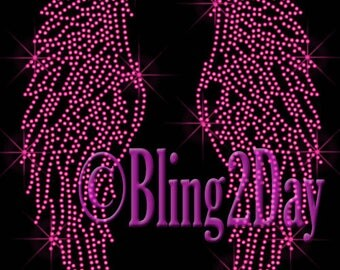 Fuchsia (Hot Pink) Angel Wings - Iron on Rhinestone Transfer Bling Hot Fix Applique - DIY