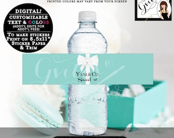 Sweet 16 & Co Water Bottle Labels, customizable stickers, printable, breakfast at decorations, tags, digital download, blue theme, Gvites