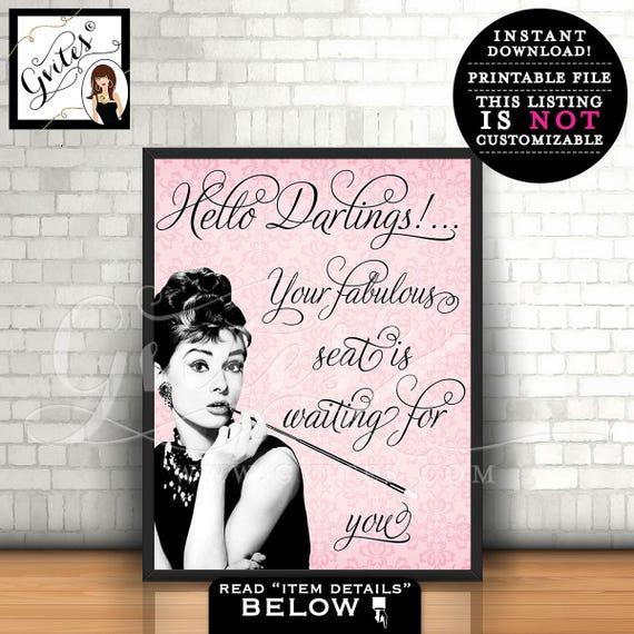 Audrey Hepburn Hello Darlings! Sign, breakfast at bridal shower, pink audrey signs, wall art, home decor, shower themed, table decor, 8x10.