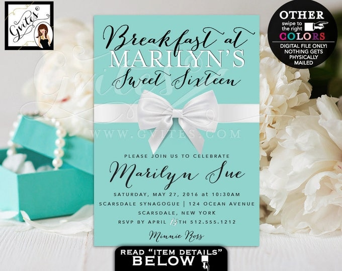 Sweet 16 Breakfast at Birthday Party, Turquoise blue glitz and glam, blue themed white bow ribbon, 5x7 Digital file.
