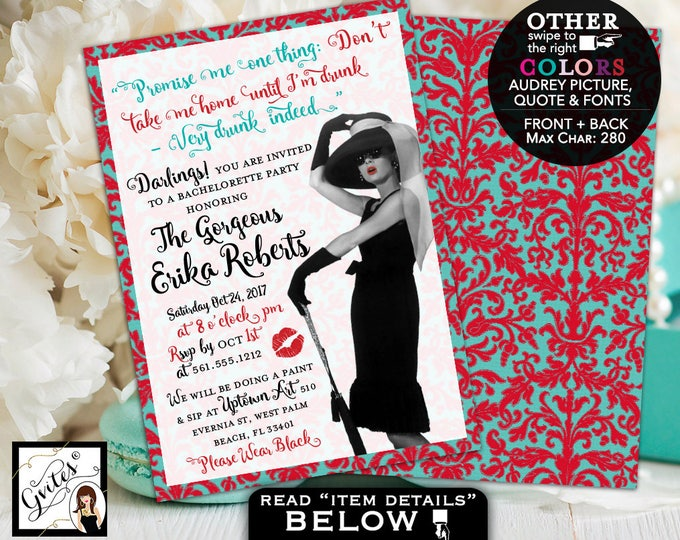 Breakfast at Tiffany's invitations, bachelorette party, lingerie shower, Audrey Hepburn invitation, customizable pic/colors/quote. 5x7.