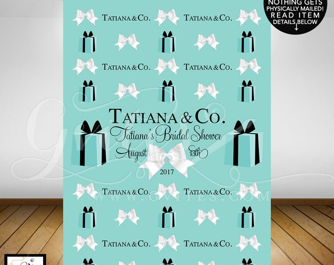 Breakfast at Tiffany's Step and repeat banner backdrops, breakfast at bridal shower, blue photo back drops, wall 5feet x 7feet. PRINTABLE