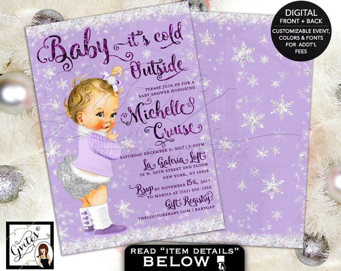 Baby Its Cold Outside Baby Shower Invitation, lavender purple and silver winter wonderland shower printable invitations, 5x7 double sided.