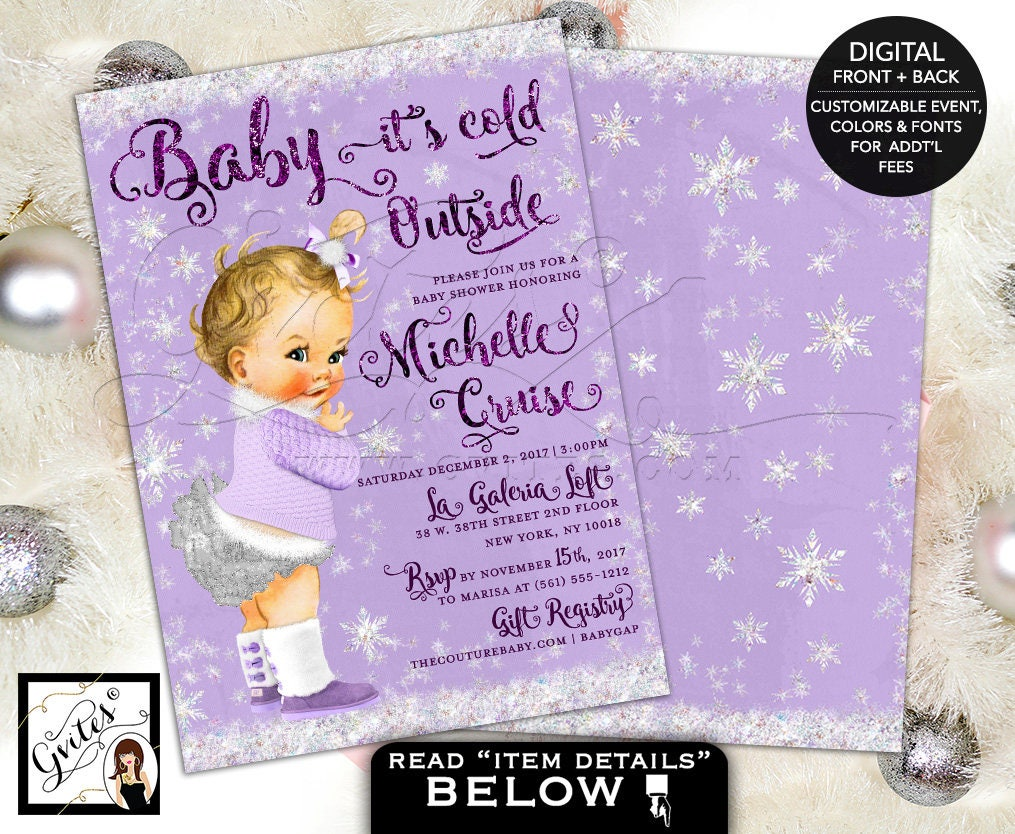 Baby Its Cold Outside Baby Shower Invitation, lavender purple and ...