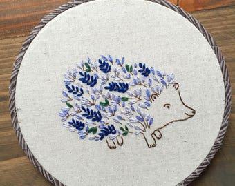 Hand Embroidered Floral Hedgehog Hoop Art
