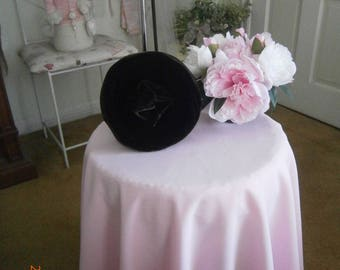 "Vintage Velvet PillBox Hat Color Chocolate By ""Cristine"""