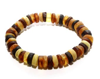 Authentic raw baltic amber stretch bracelet