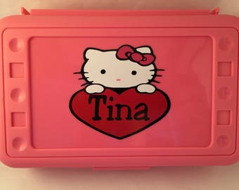 Hello Kitty with heart pencil box / case with name added