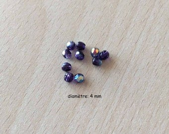 Bag of beads with Multi faceted iridescent purple