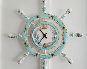 Wooden Ship Wheel Wall Clock Nautical Decor Wall Clock Distressed Hand painted Home Decor