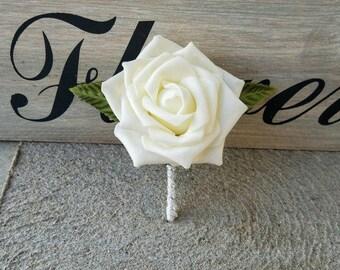 ivory rose boutonniere ivory rose wedding boutonniere ivory wedding boutonniere rose boutonniere