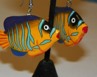 Vintage Rainbow Colored Hand Painted Wooden Angel Puffer Fish Pierced Earrings with Silver Sterling Hooks