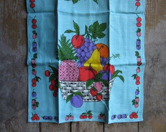 Vintage Parisian Print Linen Kitchen Tea Towel, Summer Fruit Basket,Blue Wall Hanging Tea Towel,Unused,Vibrant Color,Fiber Art,Retro Kitchen