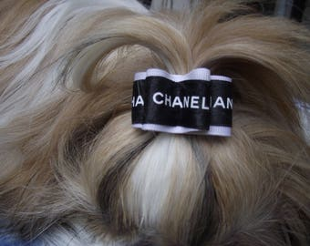 Authentic Chanel ribbon dog hair bow