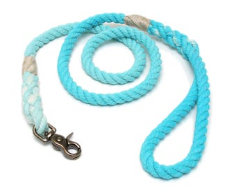 4 FT Turquoise Ombre Rope Dog Leash MACHINE WASHABLE