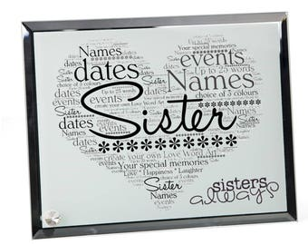 Sister Personalised Word Art Glass Plaque
