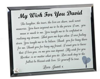 Brother Wish Poem Personalised Glass Plaque.