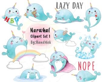 Blue Narwhal clipart set 1 instant download PNG file - 300 dpi
