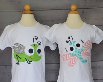 Personalized Big Eyed Bug Applique Shirt or Onesie Boy or Girl
