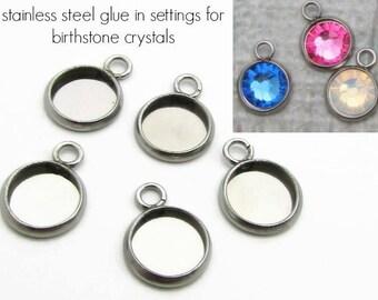 Stainless steel bezel settings for 6.5mm Birthstone Crystal, Stainless Steel Birthstones, Glue In Birthstone Settings for Flat Back Crystal
