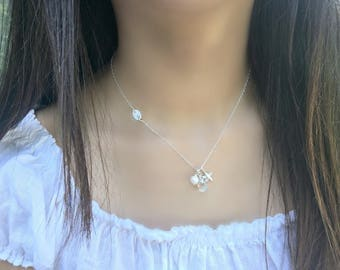 moonstone necklace personalized initial necklace 14k gold filled freshwater pearl sideways initial starfish hand stamped letter Moonstone