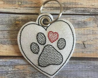 Heart Paw Print - In The Hoop - Snap/Rivet Key Fob - DIGITAL Embroidery Design