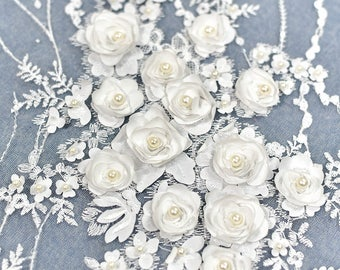 1 Yard 3D Flower Beaded Lace Fabric,White Pearl Wedding Dress Lace,Off White Flower Embroidery Bridal Wedding Dress,Floral Vintage Lace