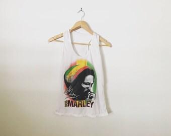 Bob Marley Signature Rasta Colours Rastafarian Reggae Music Ladies Tank Top Tee