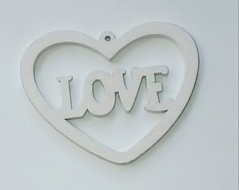 X 1 large pendant wood 40X50mm White Love heart
