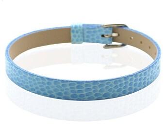 Faux leather blue croco 22cm type bracelet