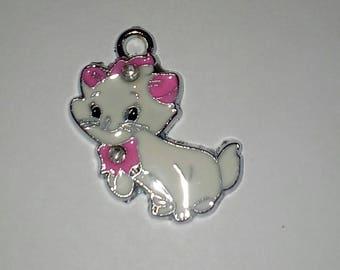 1 X cat Daisy white-pink enamel 25mm