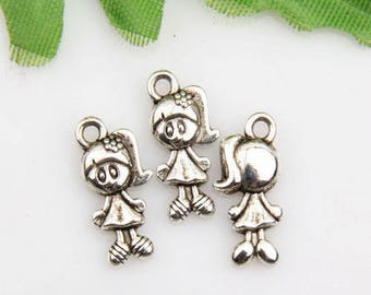 X 2 little girl silver 15mm Tibetan
