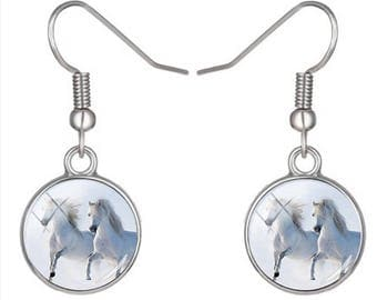 Pair of horses white glass cabochon earrings