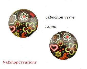 X 2 glass flower on bottom black 12mm Cabochons