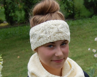 Cable Knit Headband, Knitted Ear Warmer, Hand Knit, Hair Accessory, Turban, Christmas Gift, Womens